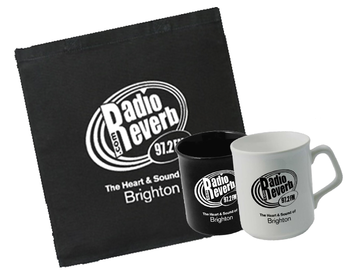 RadiorReverb tote bag and mugs